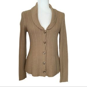 ANN TAYLOR Merino Wool Cable Knit Button Up Cardigan, S